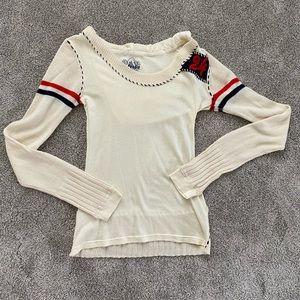 Free People Long Sleeve Hooded Knit Sweater